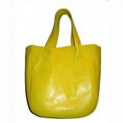 Стильная кожаная сумка ярко-жёлтого цвета