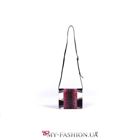 Элитная комбинированная сумка из натуральной кожи