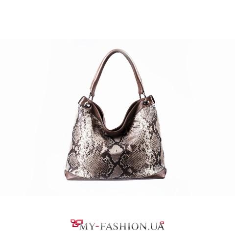 Комбинированная женская сумка из кожи питона