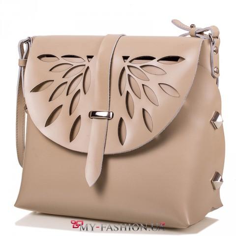 Летняя сумка кремового цвета из натуральной кожи