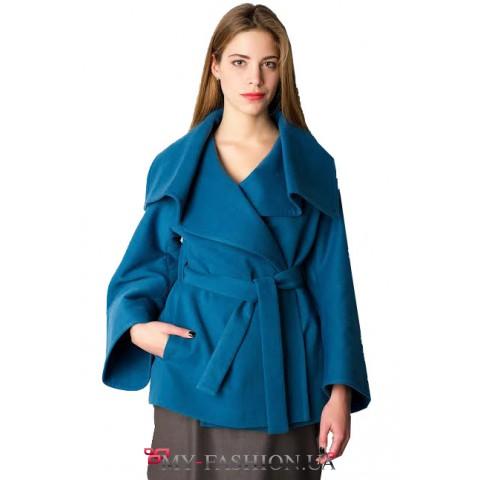 Шерстяное пончо-пальто синего цвета