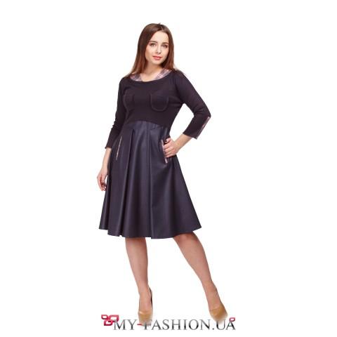 Комбинированное серое платье с расклешённой юбкой