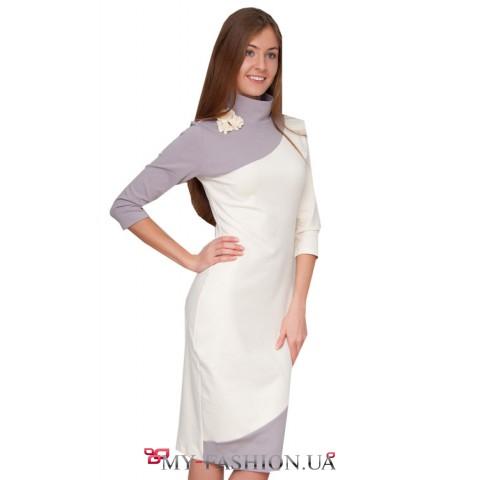 Бело-серое теплое, красивое платье