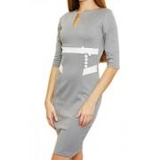 Серое трикотажное платье со вставками