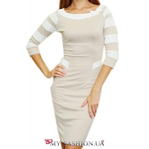 Короткое трикотажное платье с бантом