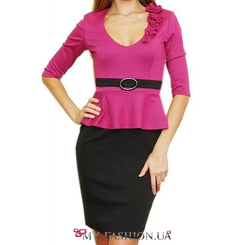 Трикотажное платье цвета фуксия
