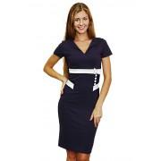 Трикотажное синее платье с белой отделкой