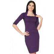 Фиолетовое платье облегающего силуэта с иллюзией болеро