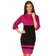 Черно- розовое трикотажное платье с расширенными рукавами