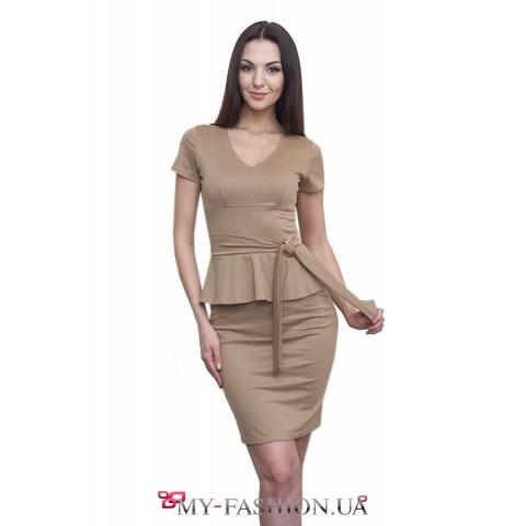 Трикотажное платье цвета кофе