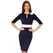 Офисное синее платье из джерси с подчеркнутой линией талии