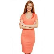 Короткое абрикосовое платье для офиса с цветочной горловиной