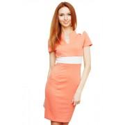 Короткое персиковое платье с поясом