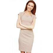 Платье цвета светлого какао с интересным плечевым решением и коротким рукавом