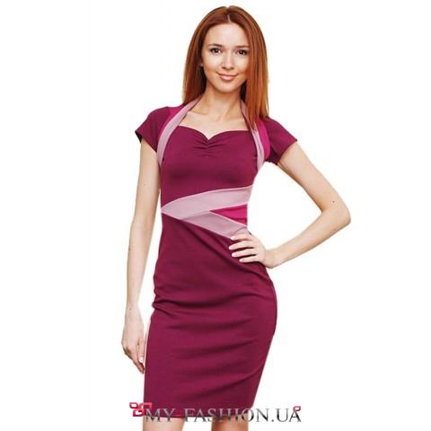 Комбинированное платье из мягкого трикотажа с цветными вставками