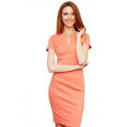 Персиковое платье с глубоким разрезом горловины миди длинны