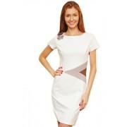 Модное белое короткое платье с декоративными вставками и коротким рукавом