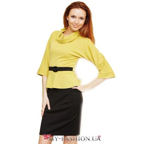Желто- черное трикотажное платье