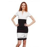 Чёрно-белое платье с необычным принтом