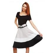 Стильное чёрно-белое офисное платье