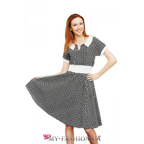 Хлопковое платье с мелким принтом