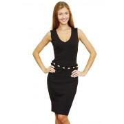 Чёрное платье с поясом ручной работы