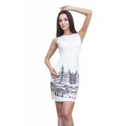 Белое платье с принтом города