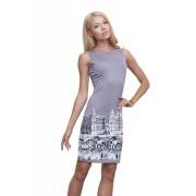 Короткое трикотажное платье с принтом города