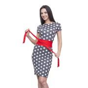 Платье в горошек с красным поясом