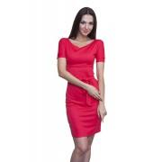 Коралловое летнее трикотажное платье