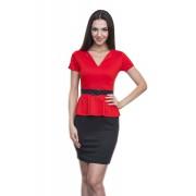 Офисное чёрно-красное платье с басочкой