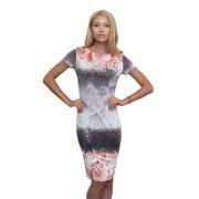 Трикотажное платье с коралловыми розами