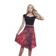 Офисное трикотажное платье с шифоновой юбкой