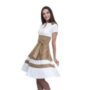 Офисное платье бело-бежевого цвета