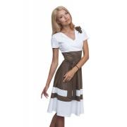 Офисное платье бело-кофейного цвета