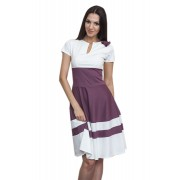 Короткое платье бело-бордового цвета