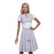 Короткое трикотажное платье бело-кофейного цвета