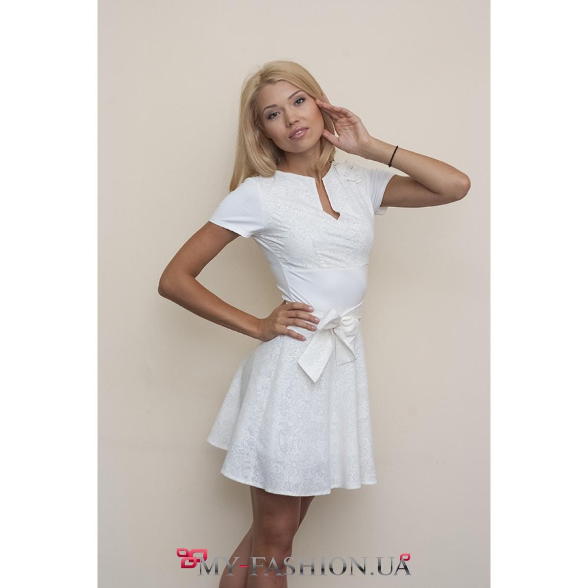 Платья с поясом короткое фото