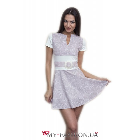 Короткое платье кофейно-белого цвета