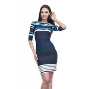 Полосатое платье-футляр синего цвета