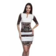 Стильное полосатое платье с принтом