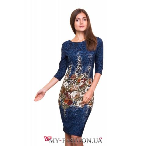 Трикотажное платье с цветочным принтом
