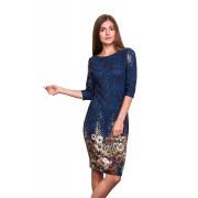 Синее платье с оригинальным принтом