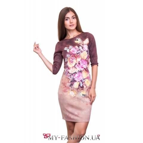 Трикотажное платье с изображением пионов