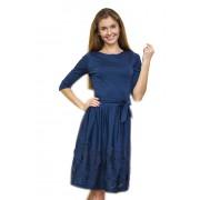 Синее трикотажное платье с широкой юбкой