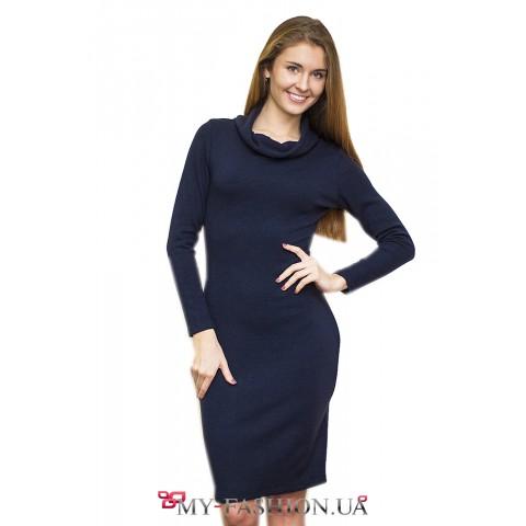 Тёмно-синее платье с поясом-кушак