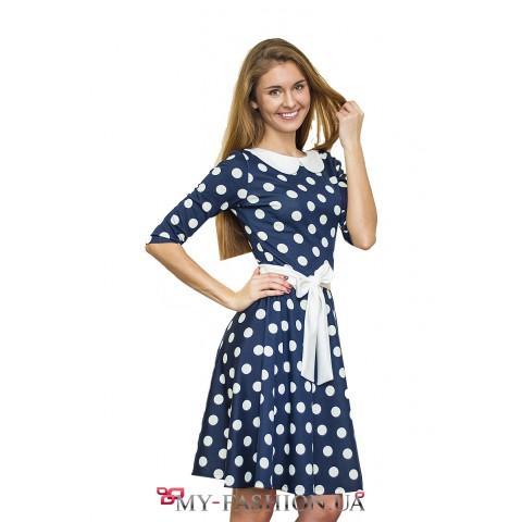 Милое трикотажное платье в белый горох