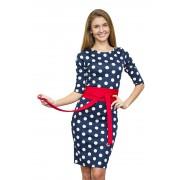 Синее платье в белый горошек с поясом