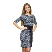 Офисное платье с черно-белым кружевным принтом