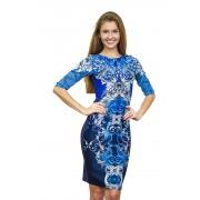 Шикарное синее комбинированное платье